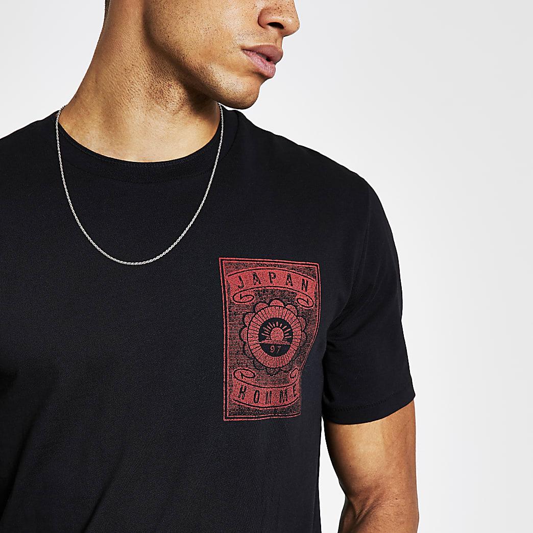 SelectedHomme - Zwart T-shirt met print