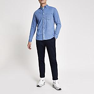 Selected Homme - Blauw denim overhemd met lange mouwen