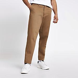 Selected Homme - Bruine smaltoelopende broek