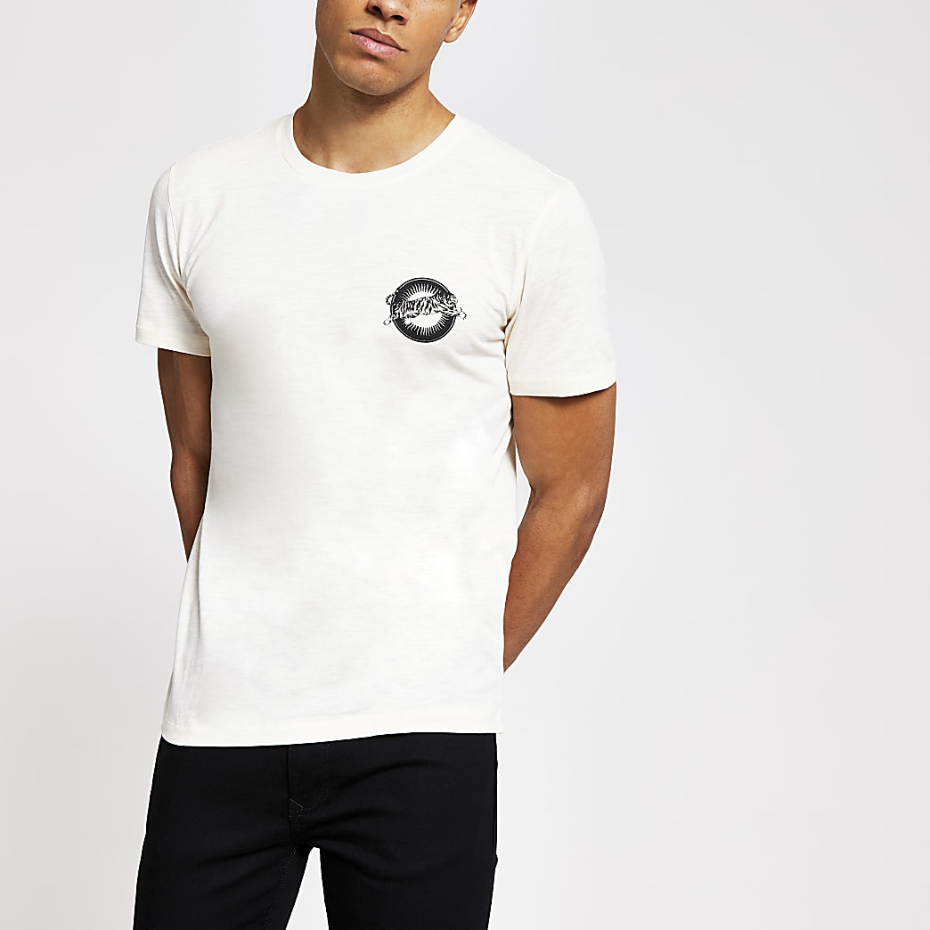 Selected Homme ecru printed T-shirt