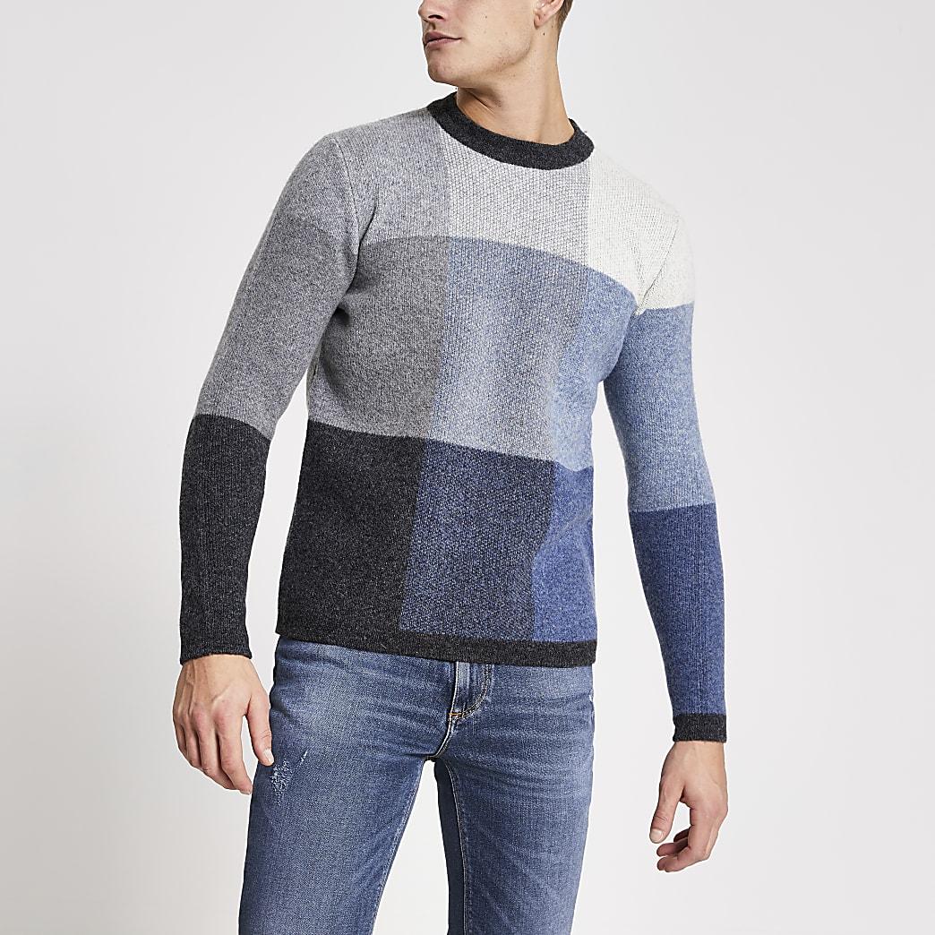 Selected Homme - Grijze gebreide trui met kleurvlakken