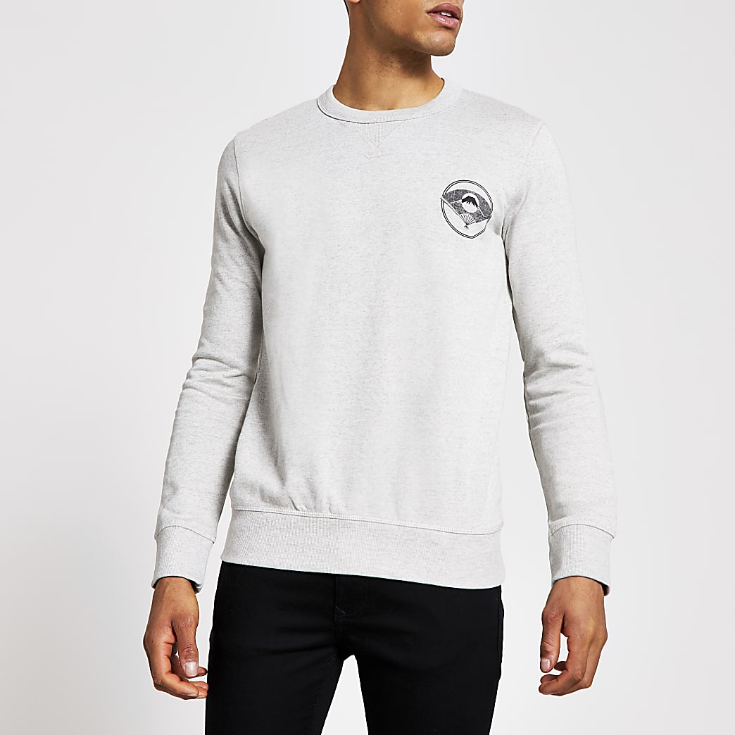 Selected Homme grey printed sweatshirt