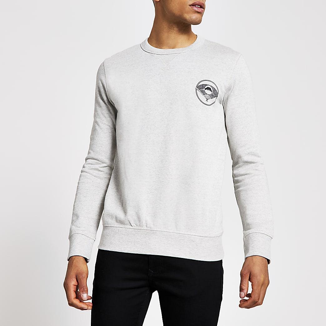 SelectedHomme - Grijze sweater met print