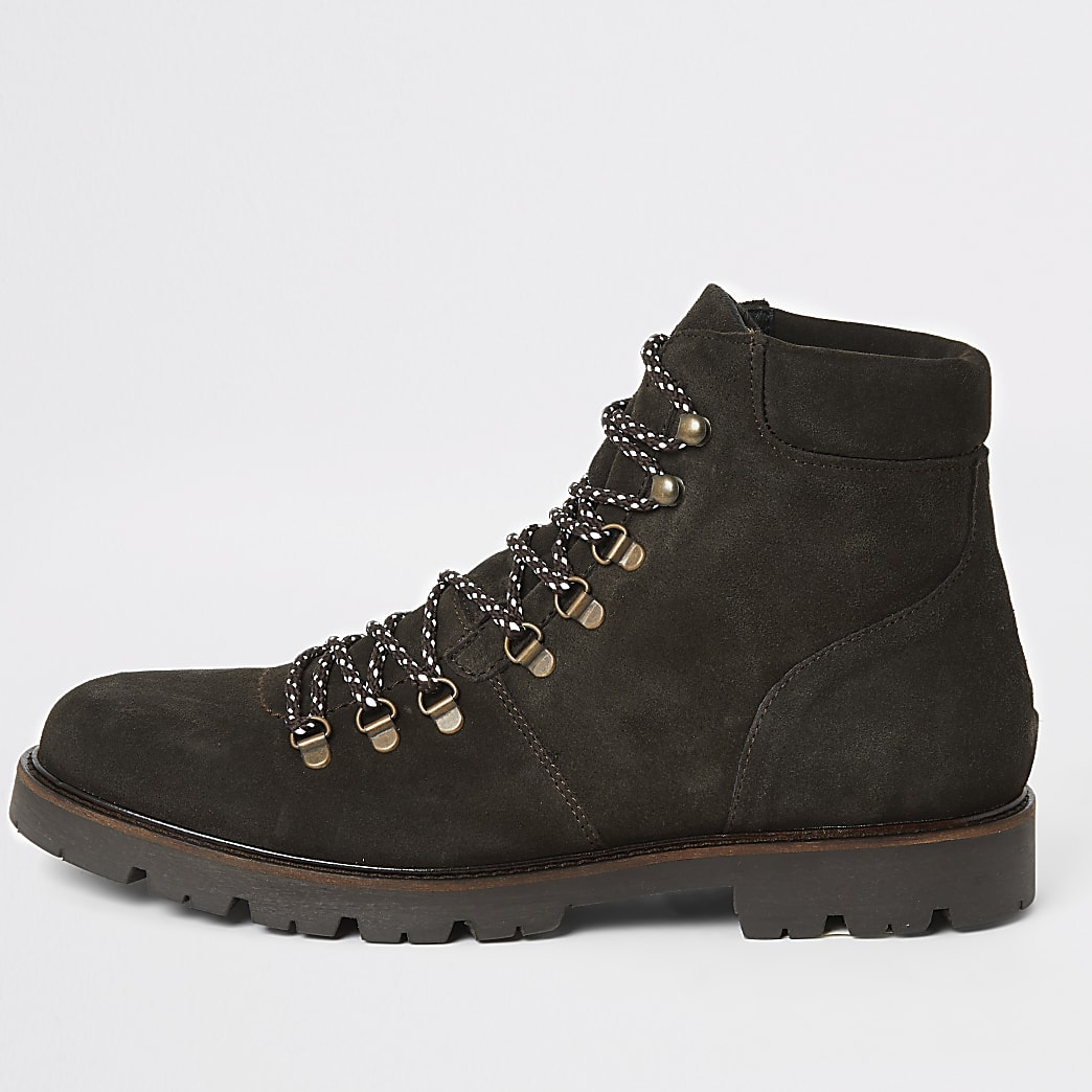 Selected Homme grey suede hiking boots