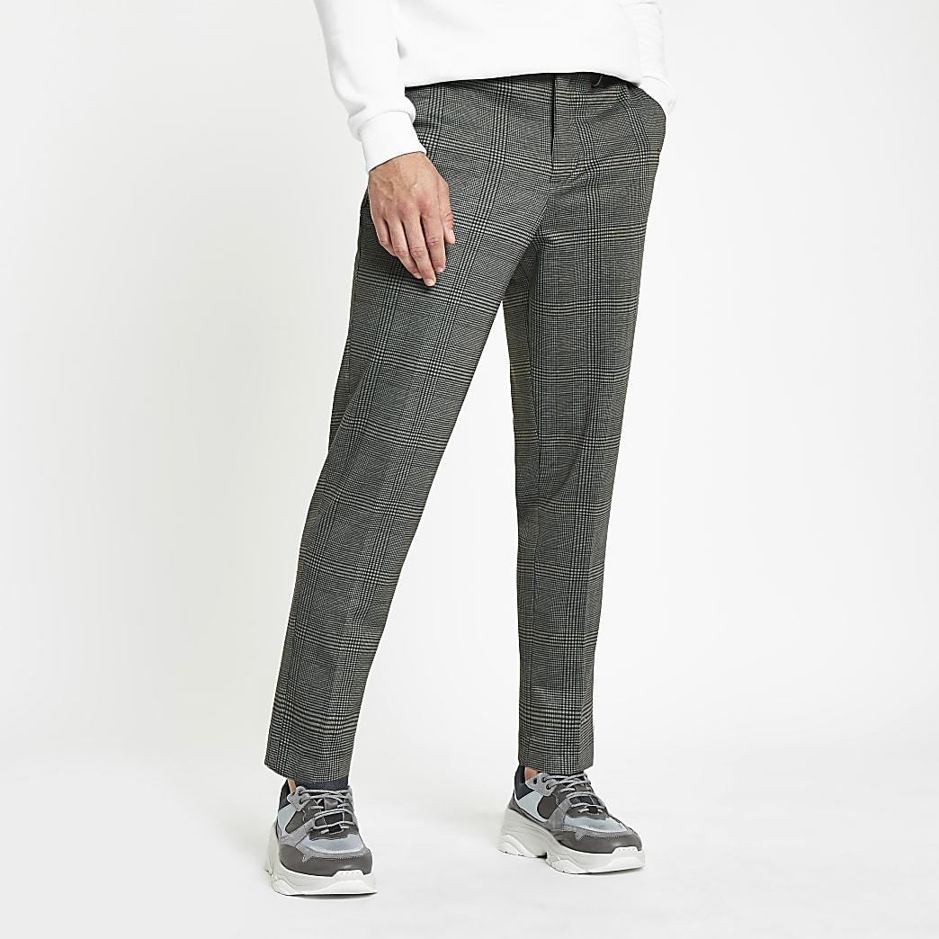 Selected Homme – Pantalon court fuselé gris