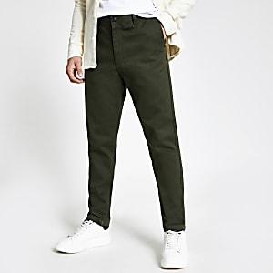 Selected Homme - Kaki smaltoelopende slim-fit broek
