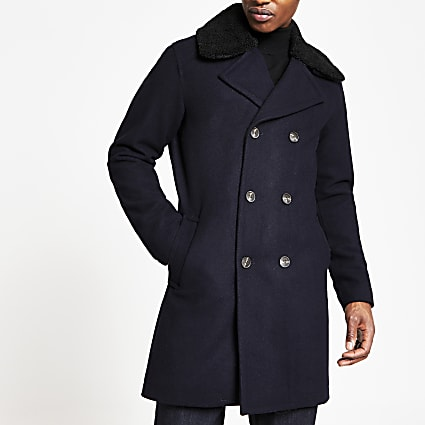 Selected Homme navy double breasted peacoat