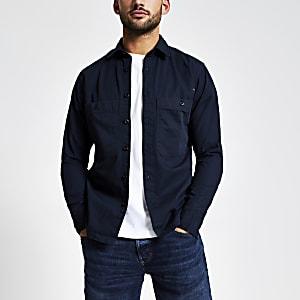 Selected Homme - Marineblauw overhemd met borstzakjes