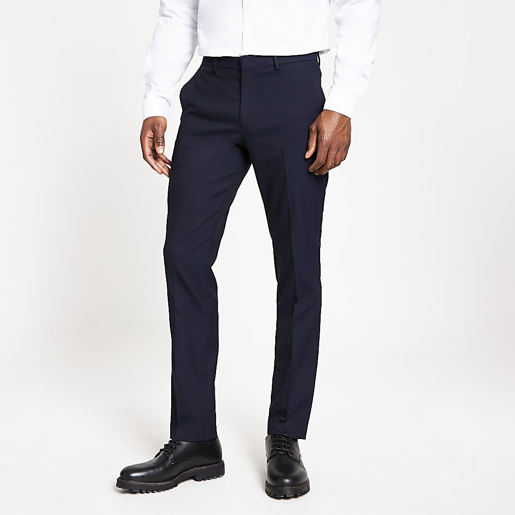 Selected Homme navy slim fit trousers