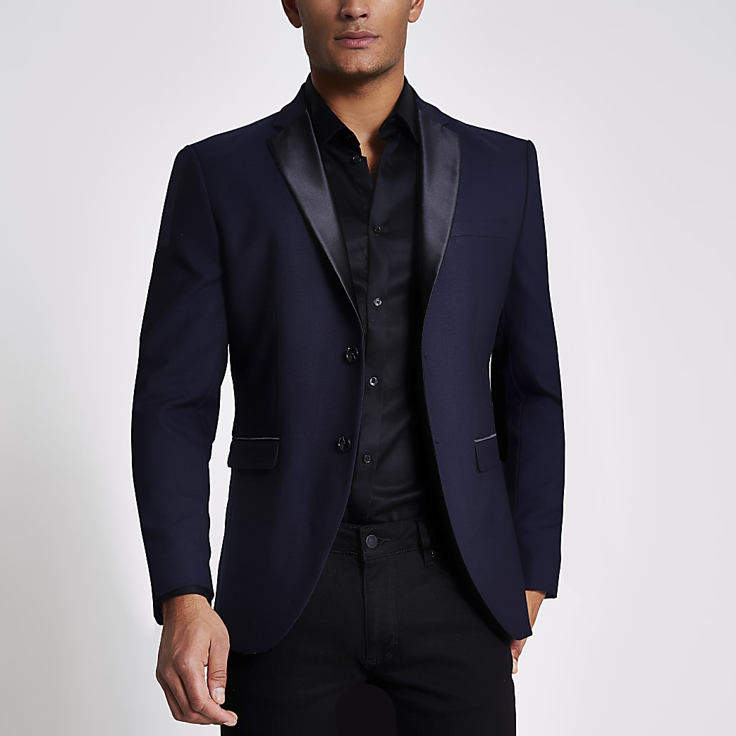 Selected Homme navy slim suit jacket