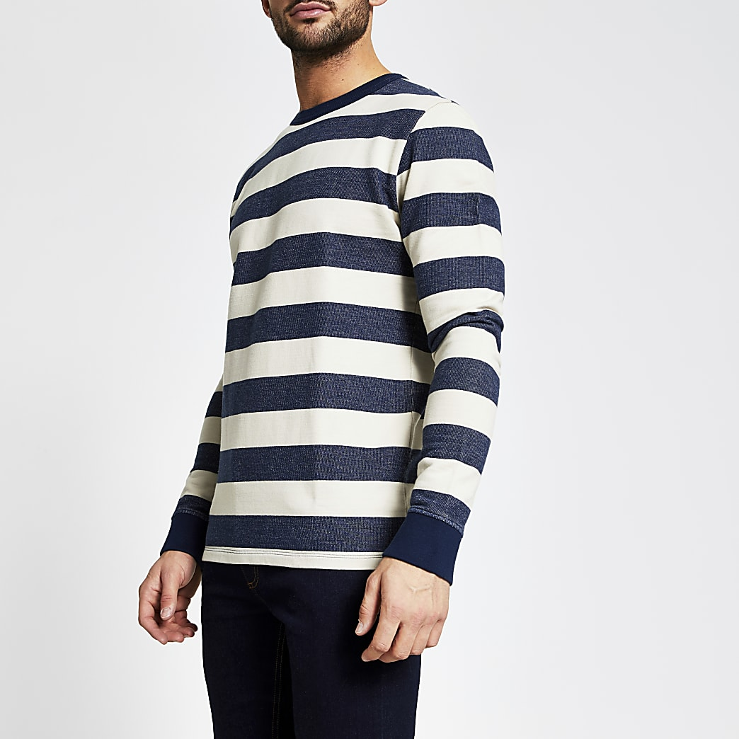 Selected Homme - Marineblauwe gestreepte sweater