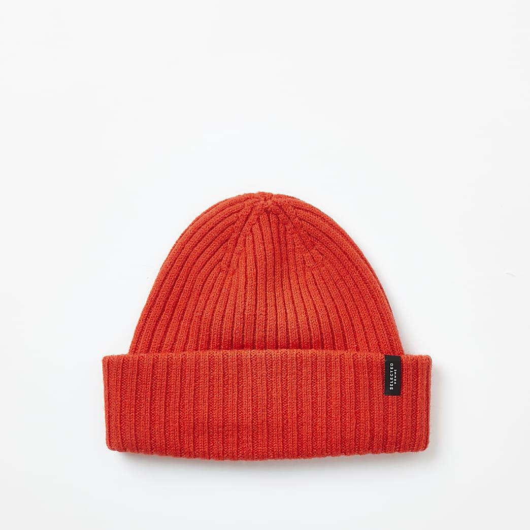Selected Homme - Oranje geribbelde wollen beanie muts