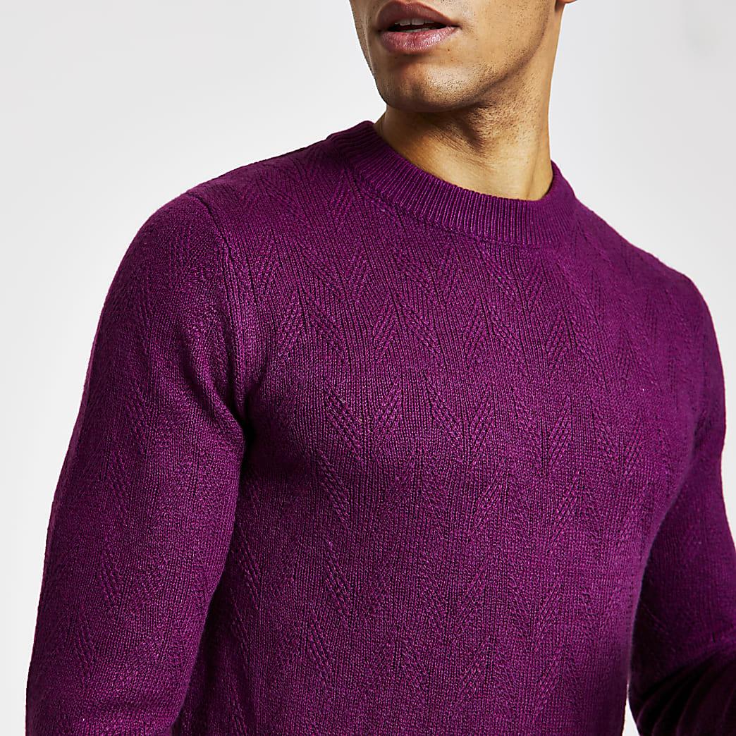 Selected Homme– Pull en maille violet
