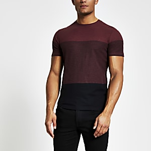 Selected Homme - Rood T-shirt met kleurvlakken