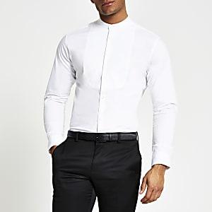 Selected Homme – Weißes Hemd mit Grandad-Kragen
