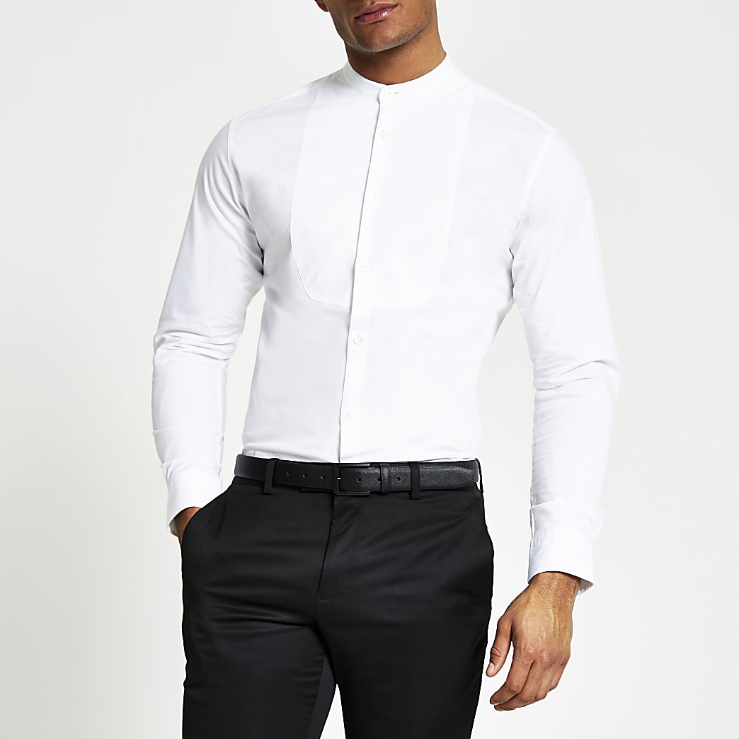 Selected Homme white grandad collar shrit