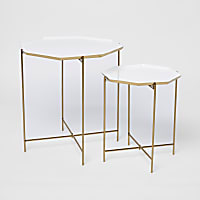 Set of 2 white and gold hexagonal tables