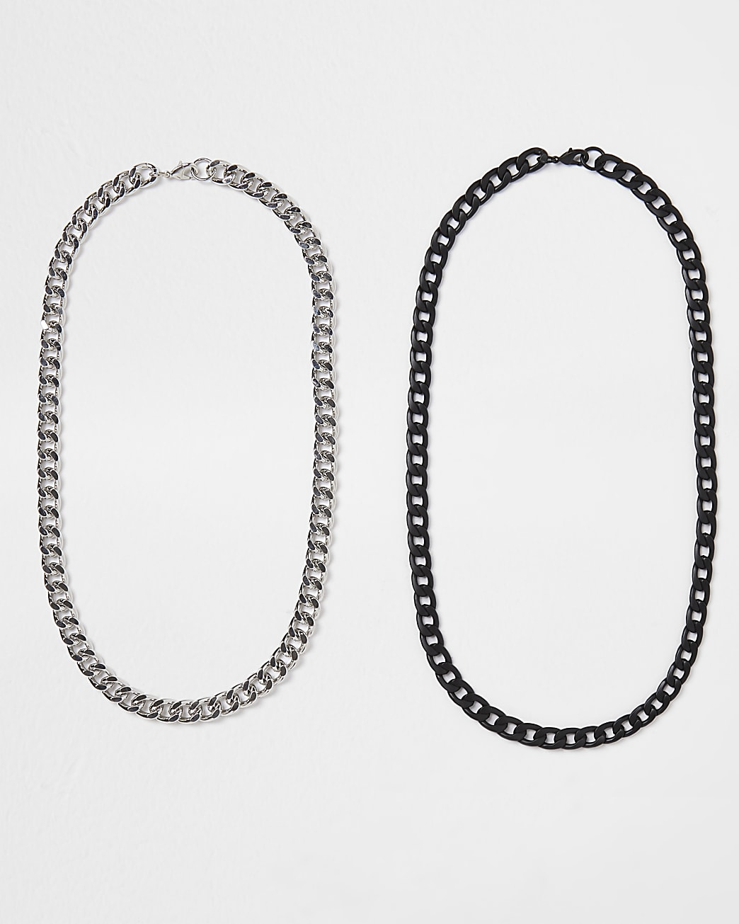 Silver & black chunky chain 2 pack