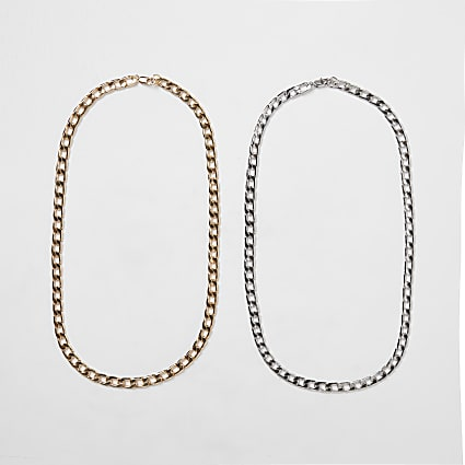 Silver & gold chain necklace 2 pack
