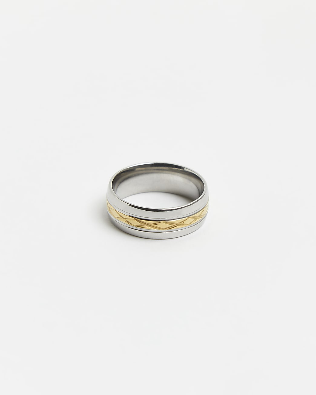 Silver & gold stainless steel band ring