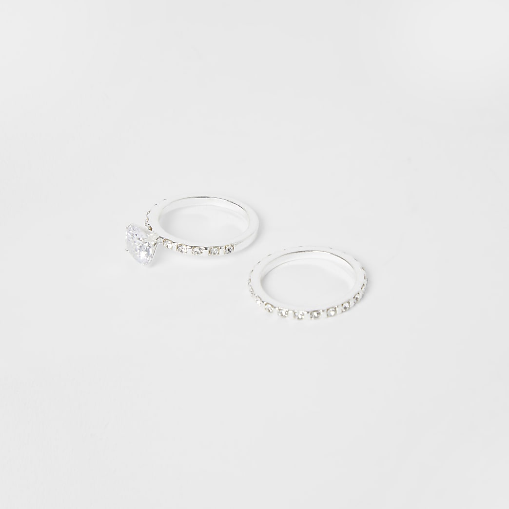 Silver 2 pack of crystal engagement rings