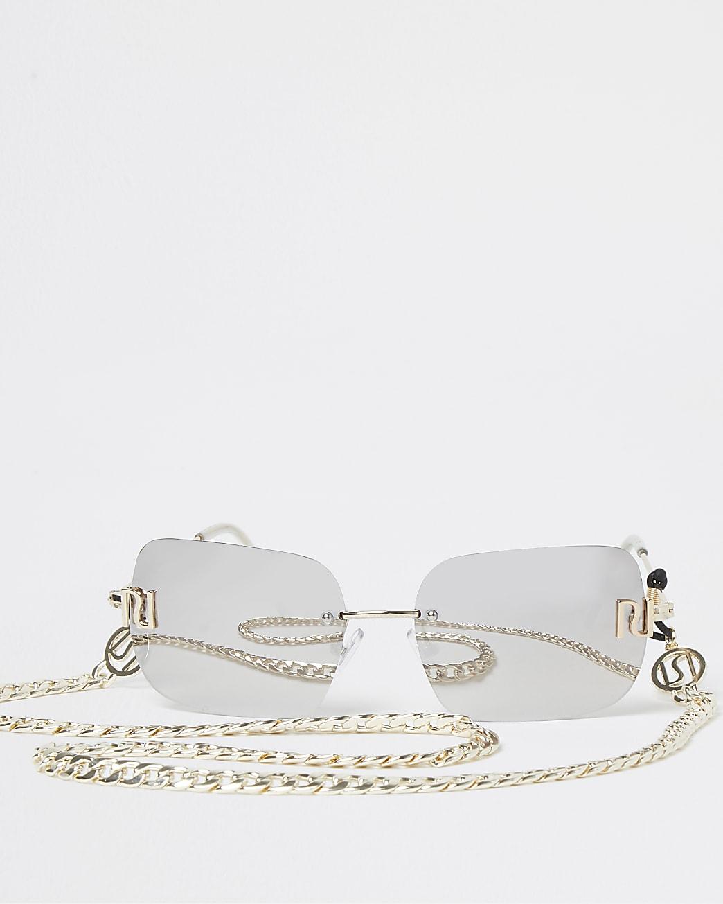Silver 90s rimless rectangle sunglasses