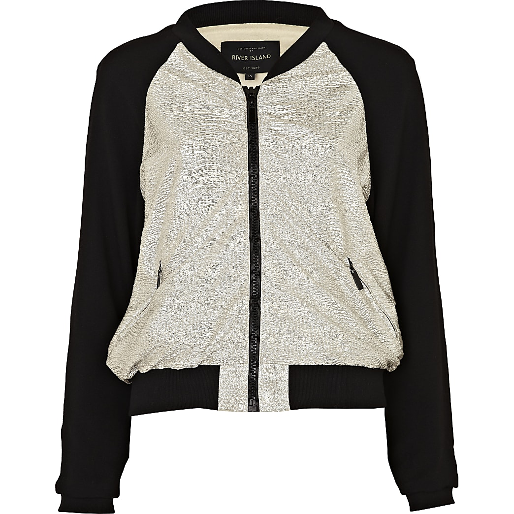 Silver and black bomber jacket
