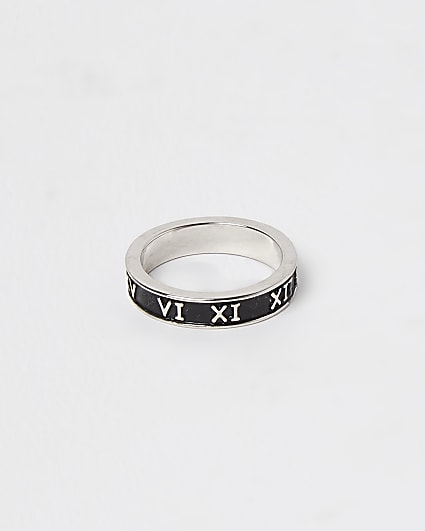 Silver and black engraved roman numerals ring