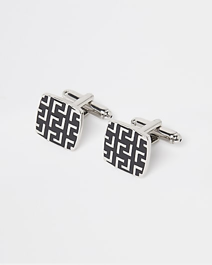 Silver and black L design engraved cufflinks