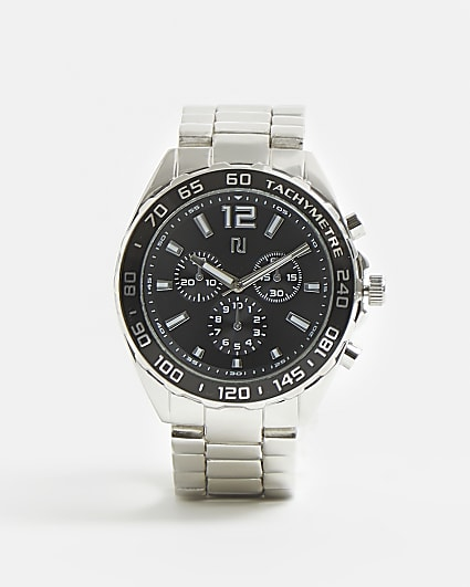 Silver and black RI branded link strap watch