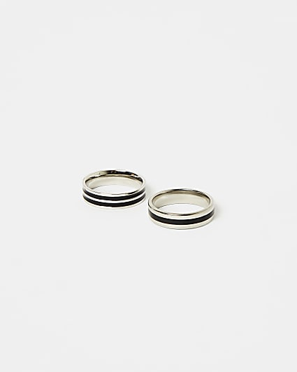 Silver and black stripe band rings 2 pack