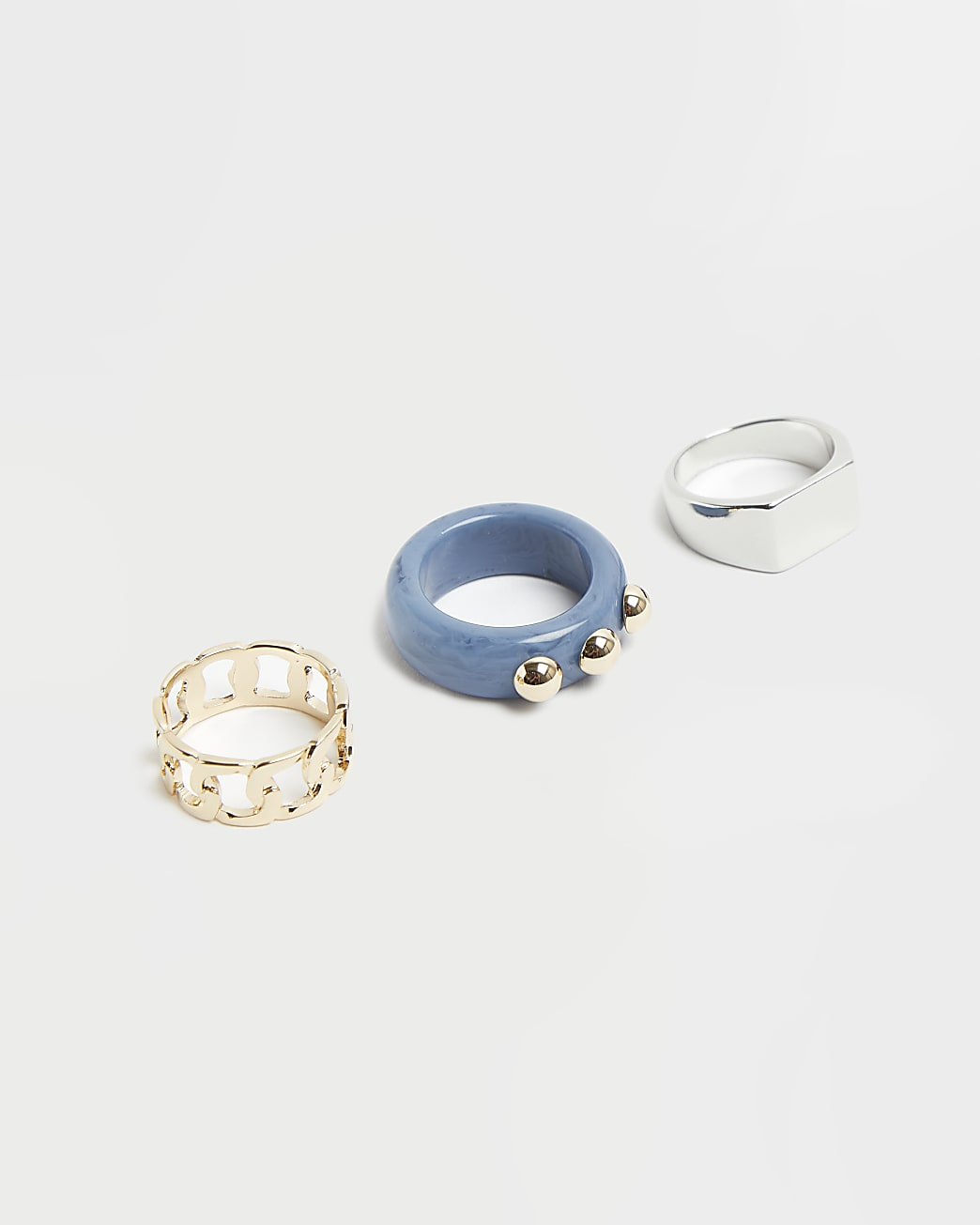 Silver and blue mixed chunky ring 3 pack