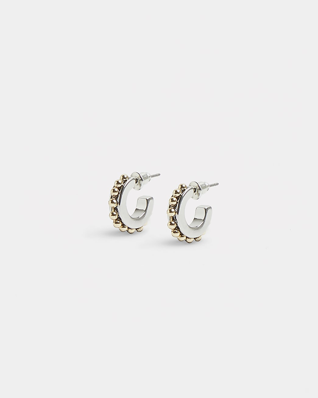 Silver and gold ball detail hoop earrings