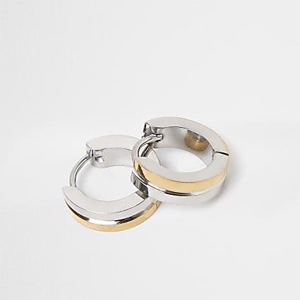 Silver and gold stainless steel hoop earrings