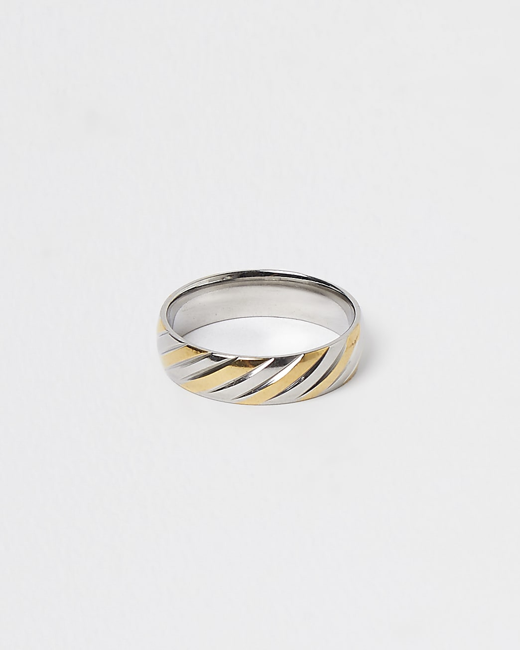 Silver and gold twist steel band ring
