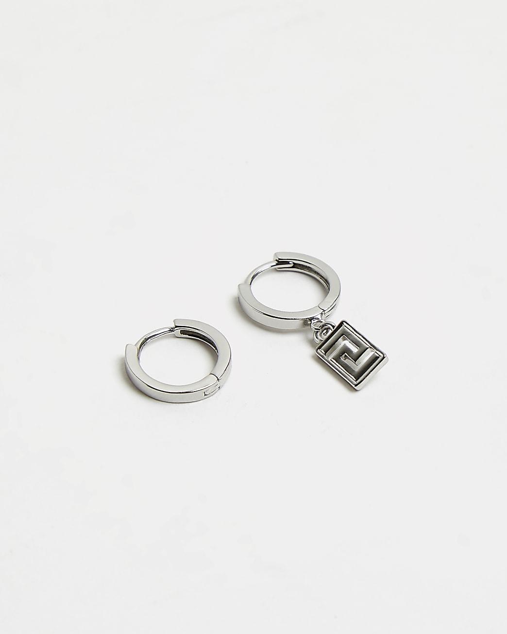 Silver asymmetric drop engraved hoop earrings