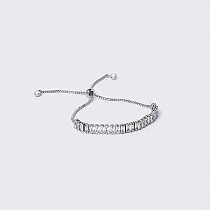 Silver Baguette Toggle Bracelet