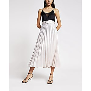Silver belted pleated midi skirt
