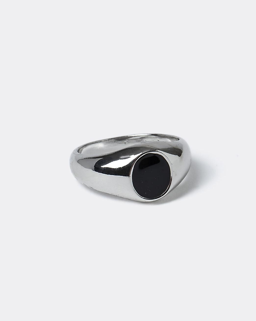 Silver black enamel jewel ring