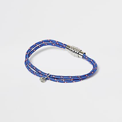 Silver blue cord bracelet