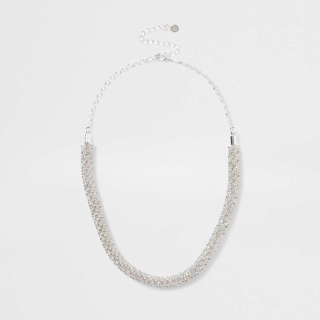 Silver bobble rope necklace