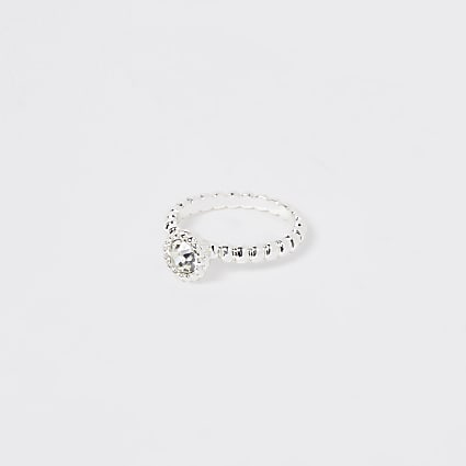 Silver bobble stone ring