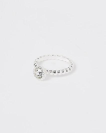 Silver bobble stone ring
