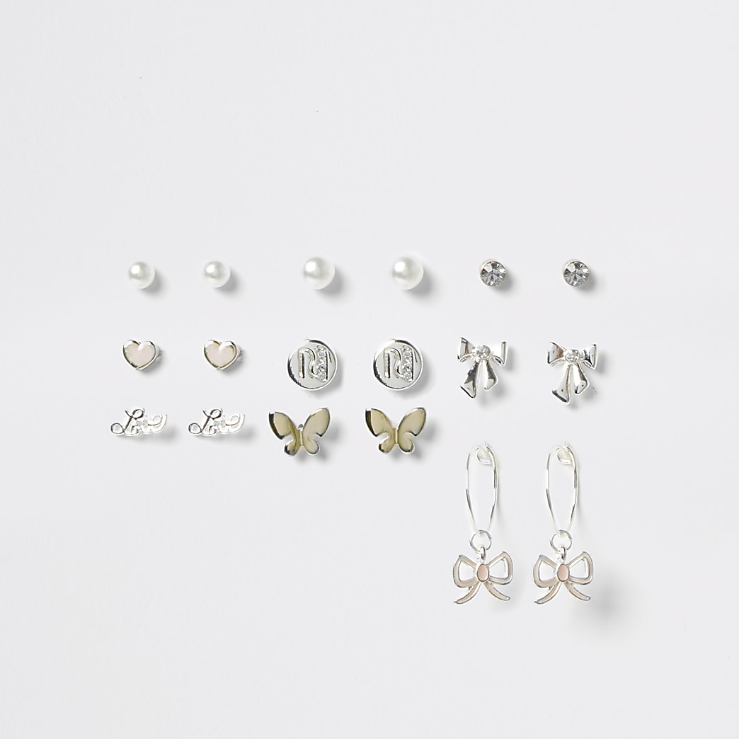 Silver Bow Love Earring Pack