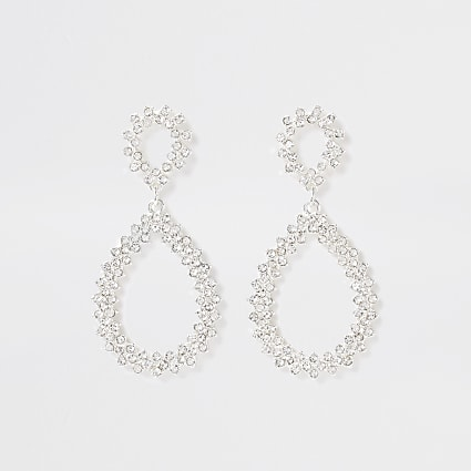 Silver bright teardrop pave earrings