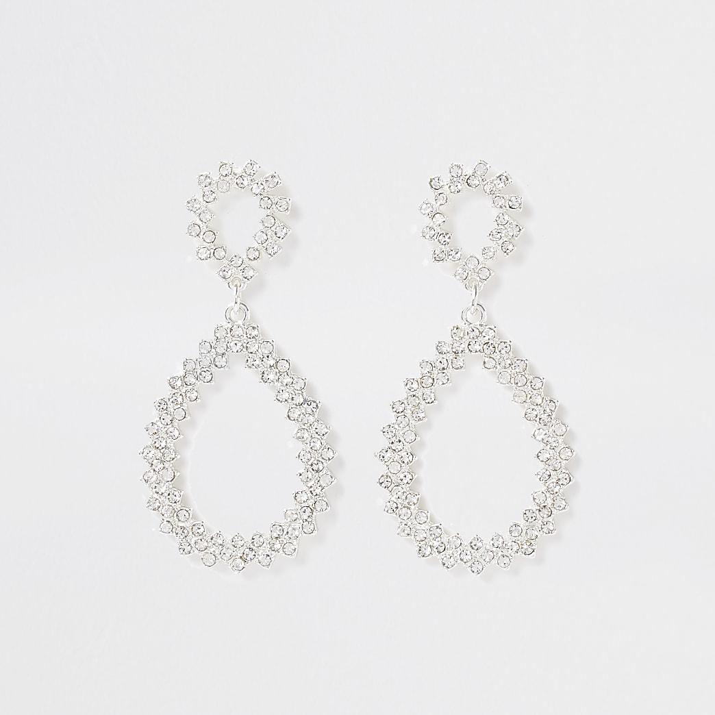 Silver bright teardrop pave earrings