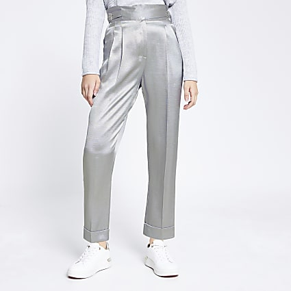 Silver buckle waist peg trousers