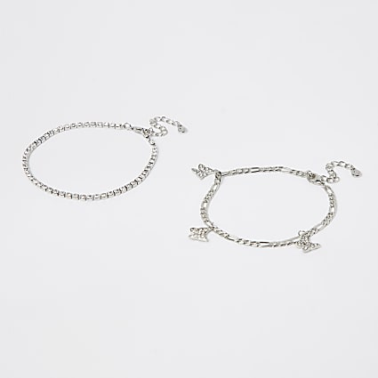 Silver butterfly Anklet 2 pack