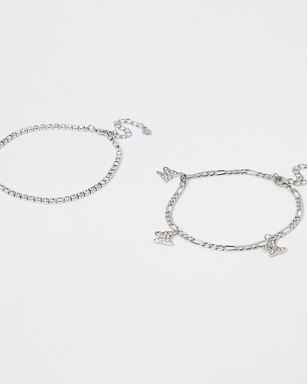 Silver butterfly anklet multipack