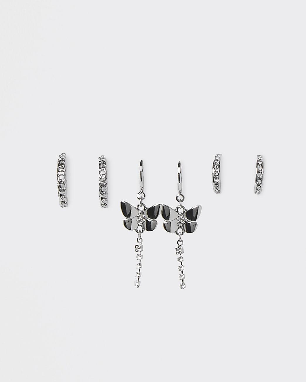 Silver butterfly hoop drop 3 pack earrings